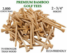 "New 3,000 Bamboo Golf Tees 7x Stronger than Wood 2-3/4"" Height - PGA Approved"