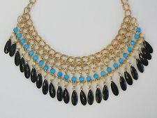Gold Chain Tassel Boho Gypsy Blue Black Beaded Bib Chunky Statement Necklace
