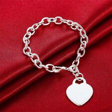 Heart Love Bracelet Sterling Silver Bracelet Chain Link QUALITY Real 925 Silver
