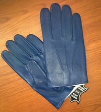 Men's Driving Sheep Blue Leather Dress Gloves Size Medium