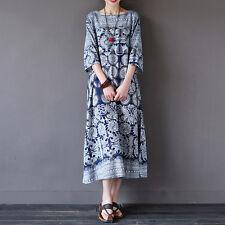 ample pour dames robe imprimé floral ras du cou Décontracté MAXI LONGUE CAFTAN