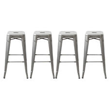 Set of 4 Galvanized 30in Tolix Style Bar Stools As Is