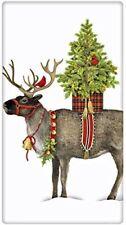 Christmas Reindeer Potted Tree  Flour Sack Dish Tea Towel - Mary Lake Thompson