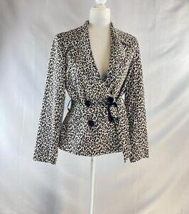 Women's Leopard Print Black and White Print Jacket Belted Blazer