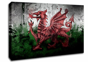 Welsh Dragon Grunge World Flags 12440 Canvas Print Wall Art
