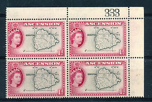 ASCENSION 1956 DEFINITIVES SG58 1d BLOCK OF 4 WITH SHEET NUMBER MNH