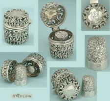 Ornate Antique Sterling Silver Case w/ Thimble * American * Circa 1890s