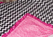 "NEW black Minky Baby toddler Blanket pink Satin Ruffle CHEVRON Girl 40"""