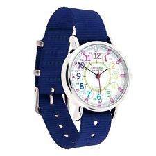 NEW EasyRead Time Teacher 24 Hour Kids Watch Navy Band Rainbow Face Free Express