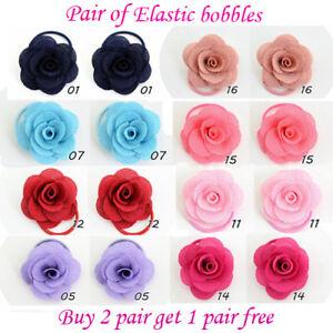 Girls Rose Flower cute elastic bobbles Bow School Baby lot Hair kids Pair