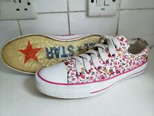 CONVERSE ALL STAR WOMENS GIRLS UK 6 EU 40 CANVAS WHITE PINK LOW TRAINERS SHOES