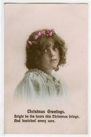 c 1912 Cute Children Child CUTE YOUNG GIRL Christmas photo postcard