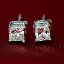 9K Solid White Gold Filled Bohemian Square Mens women Stud Earrings