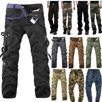 Men's Army Military Camouflage Cargo Pants Casual Outdoor Combat Cotton Trousers