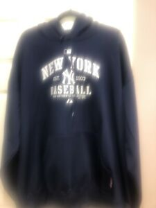 NWOT Majestic MLB NY Yankees Navy Blue Hooded Fleece Pullover Sweatshirt 2XL