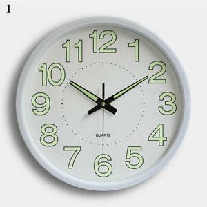 Luminous Wall Clock Number Quartz Glow In The Dark Hanging Home Decor Round UK