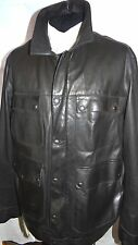 £499 FARHI -LONDON SMART DESIGNER MALT BLACK SUPPLE NAPPA LEATHER JACKET XL