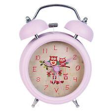 Nostalgie Glockenwecker Wecker Uhr Stil Look süßer Kinderwecker Metall Rosa Eule