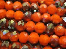 Chinese Crystal Beads 10mm Faceted Roundell 50 pcs Orange/Metallic