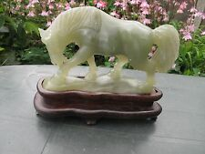 CHINESE NATURAL CARVED JADE FIGURE OF HORSE ON  THE WOODEN BASE