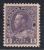 """Canada MINT OG Scott #112  5 cent violet """"Admiral""""   F"""