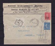 Frankreich Brief von Paris nach Bucarest/Rumänien, NACHGEBÜHR 1927 (48488