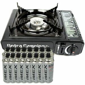 Kit réchaud camping gaz 1 feux cuisinière butane portable + recharges neuf fr