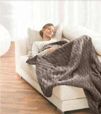 Faux Fur Electric Heated Throw Rug / Electric Snuggle Blanket Machine Washable