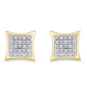 10k Yellow Gold Over Silver Real Diamond Mens/Womens Kite Stud Earrings (0.10Ct)