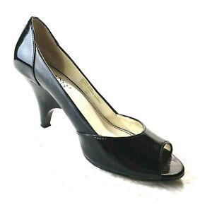"Franco Sarto ITALY 6M EU 36.5 Patent Leather Peep Toe Pumps Black 2.5"" Heel $89"