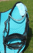 FSS Teal Aqua Green Crystal Bling FREEWAY CUT AWAY MonoCrown Poll PATENT Bridle