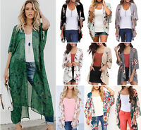 Women Kimono Blouse Coat Boho Floral Cardigan Jacket Summe Beach Bikini Cover Up