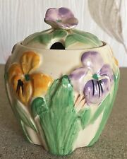 WADEHEATH PRESERVE JAR IRISES HAND PAINTED WITH LID 1940's MADE IN ENGLAND VGC