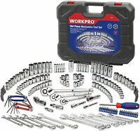 Juego de llaves de vaso WORKPRO, kit de herramientas mecánicas de 164 piezas
