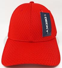 DECKY Mesh Jersey Flex Fit Cap Perforated Dad Hat Curved Visor OSFM Red NWT
