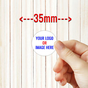 Personalised Round Business Sticker Labels SMALL SIZE - Custom Logo 35MM