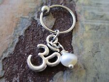 Silver Ohm Pearl Cartilage Piercing Captive Ring Earring 14G (1.6mm)