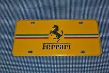 VTG NEW ODS FERRARI LICENSE PLATE BRASS METAL YELLOW ITALY FLAG HORSE LOGO