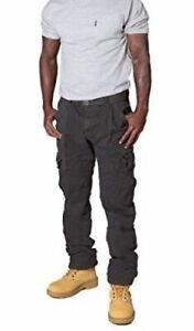 Men's Grey Combat Trousers with Cargo pockets and Belt - Waist 36 (Mike)