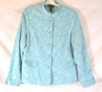Dialogue Womens Jacket Blazer Size XL Blue Floral Lined Long Sleeve AA470