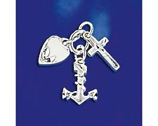 Sterling Silver Faith Hope Charity Pendant Heart Anchor Cross Charm 925 Italy