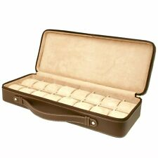 16 Watch Case for Collectors Travel Style Briefcase Brown Leather XL TS5851BRN