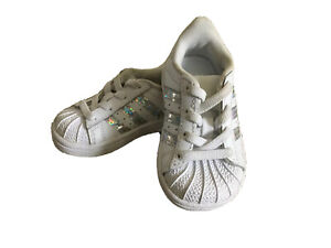 NEW Adidas Superstar White Leather Slip-ons Baby Girl Sneakers/Tennis Shoes sz4K