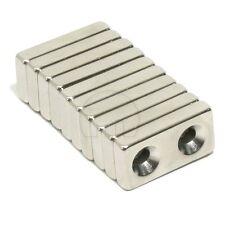 10x Block Countersunk Magnet 20mm x10mm x4mm 2-Hole 3mm Rare Earth Neodymium