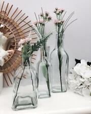 Set of 3 Clear Square Glass Flower Vases Bottles Decoration Home Wedding Decor