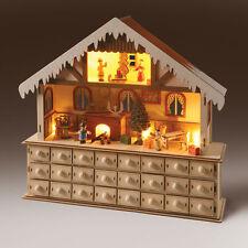 Wooden LED Lighted Santa Santa's Advent Workshop Christmas Holiday Gift