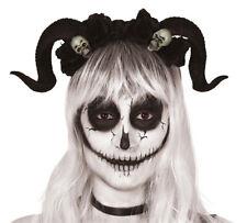 Ram Horns Headband Black Skull Tiara Halloween Goat Animal Headdress Headgear