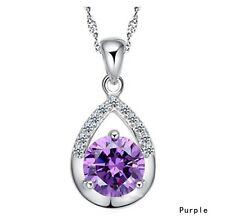 Womens  Silver Necklace Chain Amethyst Crystal Heart Purple Pendant