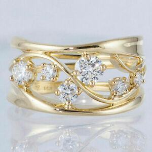 Fashion 18K Gold Rings Women Jewelry Round Cut White Sapphire Ring Gift Size6-10
