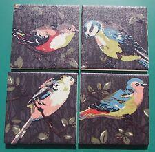 CATH KIDSTON SHABBY CHIC - SET 4 CERAMIC COASTERS 'GARDEN BIRDS CHARCOAL' FABRIC